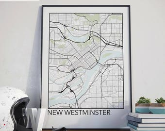 New Westminster, BC Minimalist City Map Print