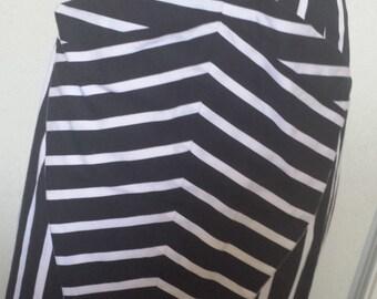 Ladies Zebra Skirt Black and White Bold stripe