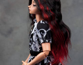 """READY TO SHIP! Gorgeous dual colour (black&red)  angora goat wig  for msd or other doll with 7-8"""" head"""