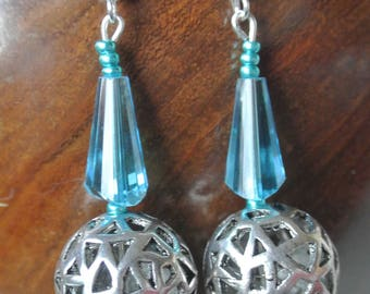 Silver Filigree and Turquoise Crystal Earrings. Handmade in UK