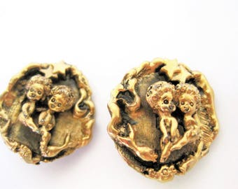 Tortolani Zodiac Earrings, Gemini Twins, Gold Tone Repouss, Clip Ons, Brutalist Style