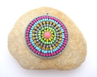 large round pendant, bohemian pendant,bead pendant