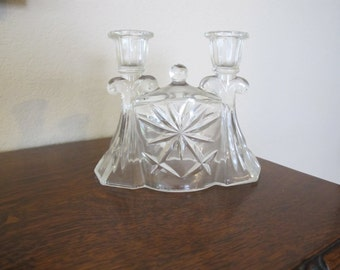 Antique, clear glass, double candlestick holder-free shipping