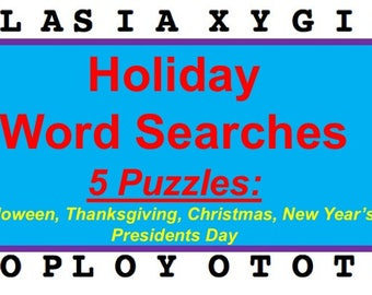 Printable Holiday Word Search Puzzles, Five Puzzles, Halloween, Thanksgiving, Christmas, New Year's, Presidents Day party games
