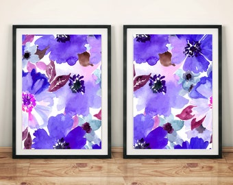 Purple Watercolor Flowers Art Painting Print Poster