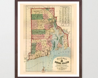 Rhode Island Map - Rhode Island Map Art - Map Decor - Rhode Island Art - Rhode Island Map Art - Rhode Island Wall Art - New Jersey - Old Map