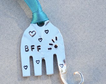 BFF best friends forever HANDSTAMPED ELEPHANT ornament made from Recycled Fork with Eyelashes and heart