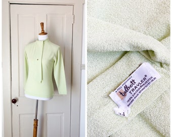 Spring Dew 1960s Long Sleeve Pistachio Green Knit Sweater with Tie Detail
