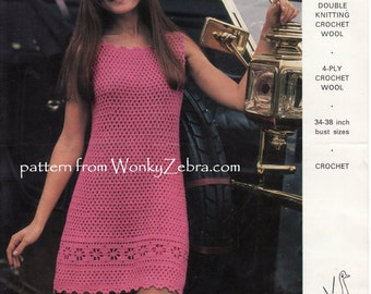Vintage Crochet Party Dress Pattern PDF 691 from WonkyZebra