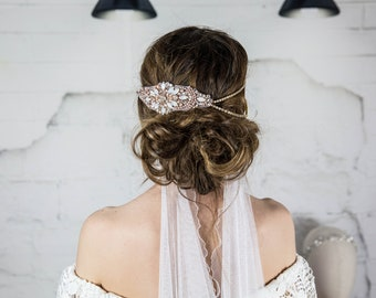 Rose Gold Bridal Head Chain  / Wedding Forehead headpiece / Rose Gold Wedding Headband / Chain Headdress/ Art Deco Hair Piece Hair Floaters