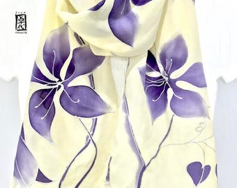 Hand Painted Silk Scarf, Purple Clematis Vine, Silk Floral Scarf, Silk Painting Art Scarf, Yellow Silk Crepe, Takuyo, Made to order