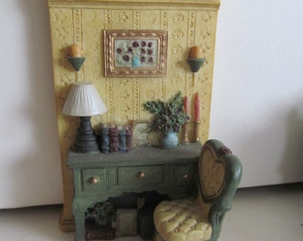 Dollhouse Wall Decor Vanity Dresser and Chair Miniature Dollhouse Pictures Dollhouse miniature Display Vignette Instant Collection Lamps