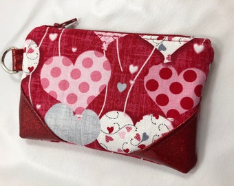 Change Purse, Earbud Case, Credit Card Holder, Red, Pink, White, Gray, Polka Dot Heart Balloons on Red With Red Glitter Vinyl Accent Corners