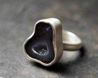 Dark Lavender Geode Ring in Sterling Silver