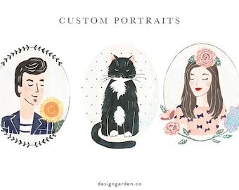 Custom hand drawn portrait. Portrait Illustration.