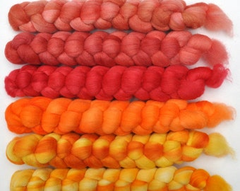 Hand dyed roving -  Silk / Merino wool 20/80% spinning fiber - 6.4 ounces - Piñata
