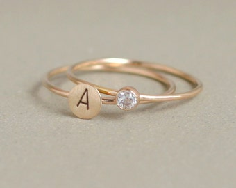 SOLID 14k gold stacking ring SET. initial ring. gold cz diamond ring. gold stacking ring. personalized set. TWO rings. gold mothers rings.