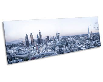 London Cityscape Skyline CANVAS WALL ART Panoramic Framed Print