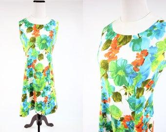 60's Mod Floral Sleeveless Cotton Dress