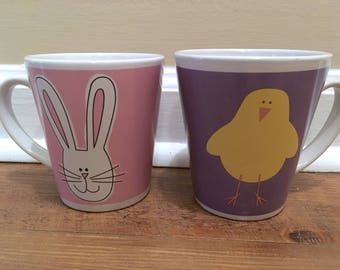 Cute Pair of Easter-Themed Ceramic Mugs - Bunny & Chick