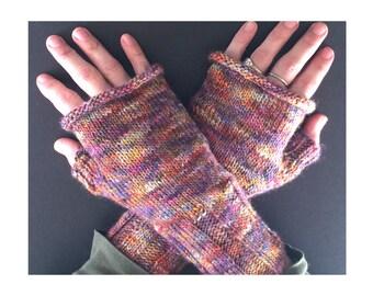 Fingerless Gloves - Hand-Knit Gloves - Women's Fingerless Gloves - Half Gloves  - Purple Multicolor - Women's Winter Gloves