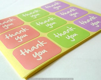 Thank You Label Stickers  - Rounded Corner Rectangle - 10 Sheets ( 90 Stickers )