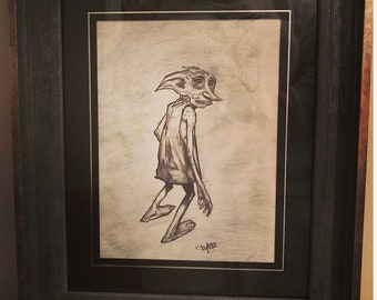 Dobby the house elf framed original artwork