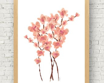 Cherry Blossoms, 11x14, Asian Decor, Cherry Blossom Print, Cherry Blossom Painting, Asian Art, Japanese Flowers, Pink Floral Print, Spring