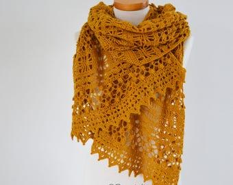 MARIGOLD, Crochet shawl pattern, pdf
