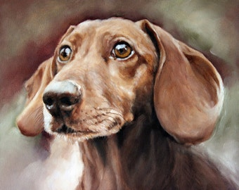 Dachshund Portrait, Custom Pet Portrait, Dog Oil Painting, Pet Portrait, Portrait Commission, Animal Portrait, 8x10