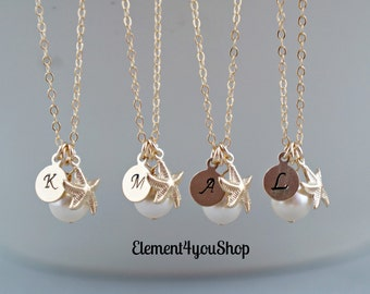 Bridesmaid Necklaces 4 Four Initial Charm Starfish Necklaces 14k Gold Filled Ivory Pearls Beach Destination Wedding Jewelry Bridesmaid gifts