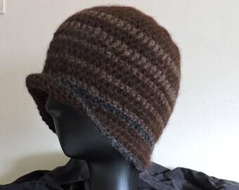 Winter Beanie 100% thick Alpaca yarn with Brown stripes