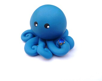 Birthstone  Little Octopus Mini Marble Friend in Birthday Month of September  Sapphire Royal Blue with Faux Gemstone