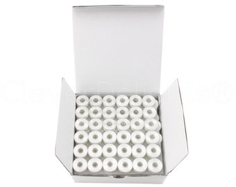 12 Size M Plastic Sided Prewound Bobbins - White - Fits Many Sewing and Embroidery Machines - See Compatibility List