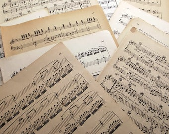 100 ONE-SIDED pages of vintage sheet music and songbooks, scrap booking, paper crafts, paper craft supplies, old music, old paper