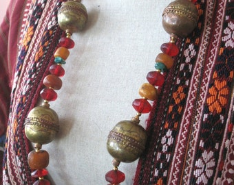 Stunning long African Tribal  necklace with Amber, Vaseline beads and Ethiopian beads