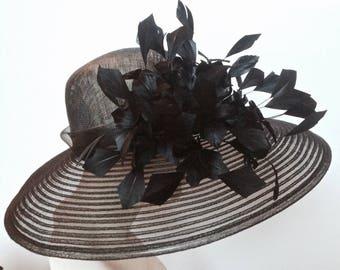 Kentucky Derby Hat in Black or White WIDE BRIM Black Hat Church