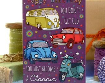 Funny Birthday Card - Become A Classic  - Birthday Card - Classic Cars Birthday Card - Card For Him - Camper Van Birthday Card