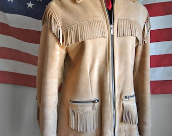 Vintage Buckskin Jacket - Western Fringed Leather Jacket by Uber - Made in USA - Red Quilted Lining - Men's XS - Women's Size Medium