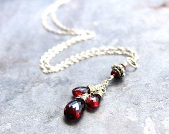 Pendant Garnet Necklace Sterling Silver January Birthstone Trio Red Gemstone Teardrops