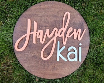 "24"" Round Custom Name Wood Sign 