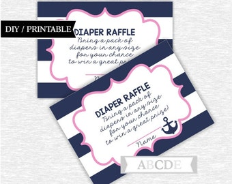 Instant Download Pink and Navy Nautical Baby Shower Party Diaper Raffle cards Baby shower DIY Printable (SWN001)