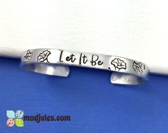 Catholic Bracelet, Christian Bracelet, Let It Be Cuff, Gift for Her, Marian Jewelry, Catholic Jewelry, Lily Cuff, Fiat Jewelry, Religious