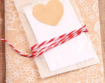 40 Brown kraft heart stickers