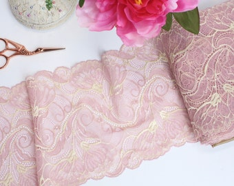 "1 m (1.09 yd) of Stretch lace - Dusty Pink Two Tone - 17 cm (6 3/4"") Wide"