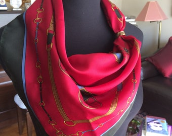 Vintage Designer Pier Olivier Equestrian Carriage Print Red and Black Scarf Hand Rolled Edge FREE SHIPPING EVERYWHERE