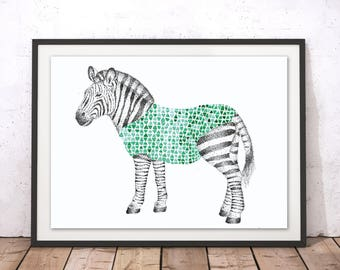 Zebra Framed Print, Zebra Print, Animal A4 Print