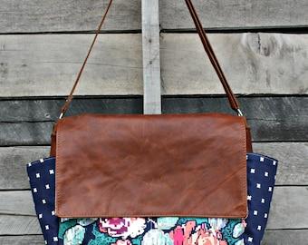 Messenger Bag, Leather Messenger Bag, Leather Laptop Bag, Diaper Bag, Crossbody, Floral, Baby Girl