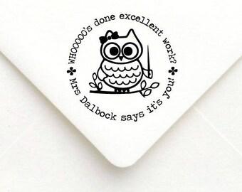 Custom Teacher Stamp, Teacher Rubber Stamp, Teacher Gift Stamp, Personalized Name Teacher Stamp, Great Job Stamp, Owl book stamp B16