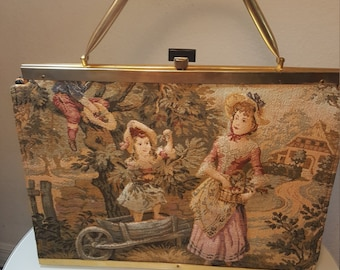 FREE  SHIPPING  Vintage Couture Tapestry Handbag